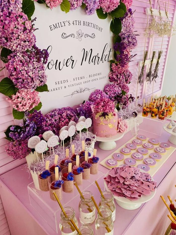 Flower Market Dessert Table from a Flower Market Party on Kara's Party Ideas | KarasPartyIdeas.com (23)