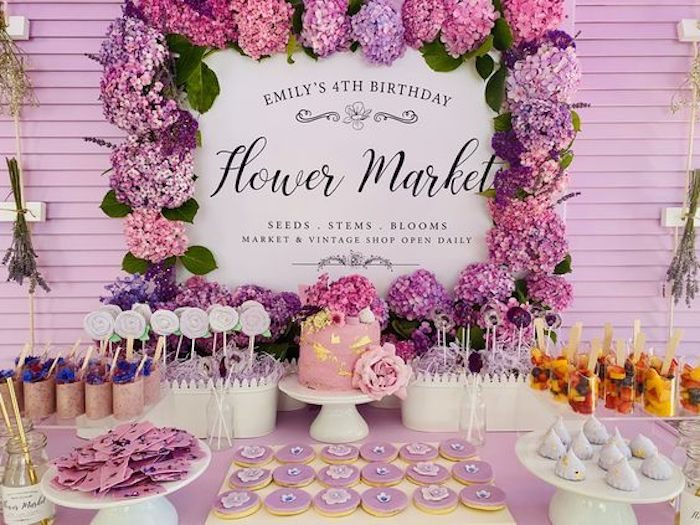 Flower Market Dessert Table from a Flower Market Party on Kara's Party Ideas | KarasPartyIdeas.com (21)