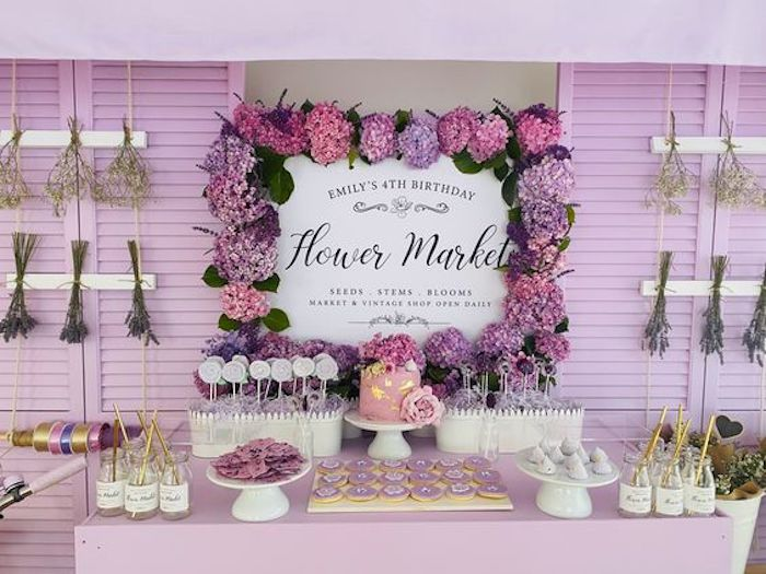 Flower Market Dessert Table from a Flower Market Party on Kara's Party Ideas | KarasPartyIdeas.com (20)