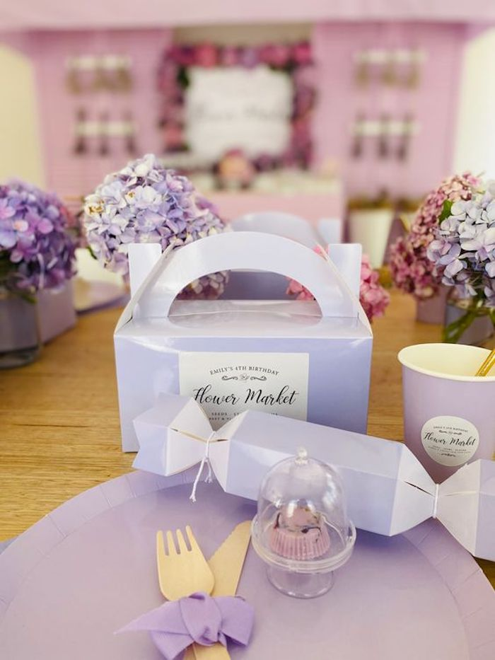 Purple Flower Market-inspired Table Setting from a Flower Market Party on Kara's Party Ideas | KarasPartyIdeas.com (19)