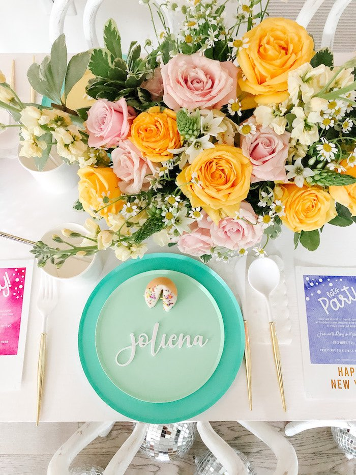 Personalized Table Setting from a Glam Pastel New Year's Eve Party on Kara's Party Ideas | KarasPartyIdeas.com (9)