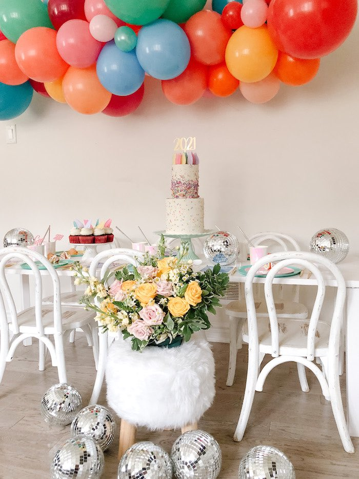Disco Ball + Blooms from a Glam Pastel New Year's Eve Party on Kara's Party Ideas | KarasPartyIdeas.com (7)