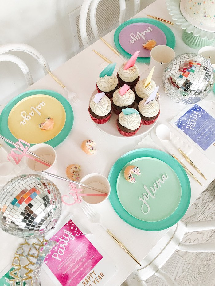 Cupcakes + Party Table from a Glam Pastel New Year's Eve Party on Kara's Party Ideas | KarasPartyIdeas.com (3)
