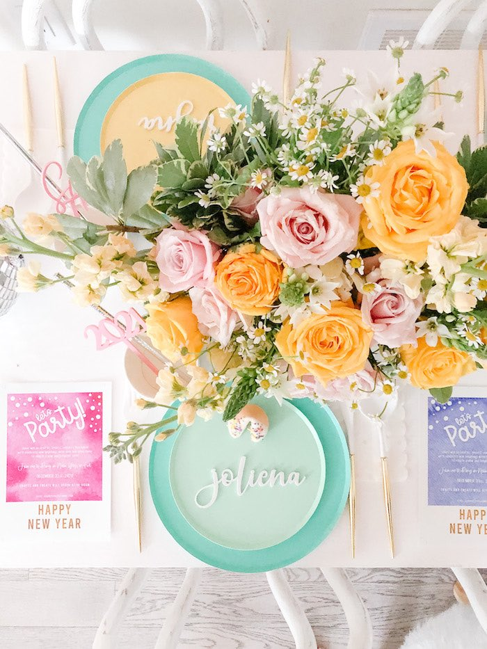 Personalized Table Setting from a Glam Pastel New Year's Eve Party on Kara's Party Ideas | KarasPartyIdeas.com (15)