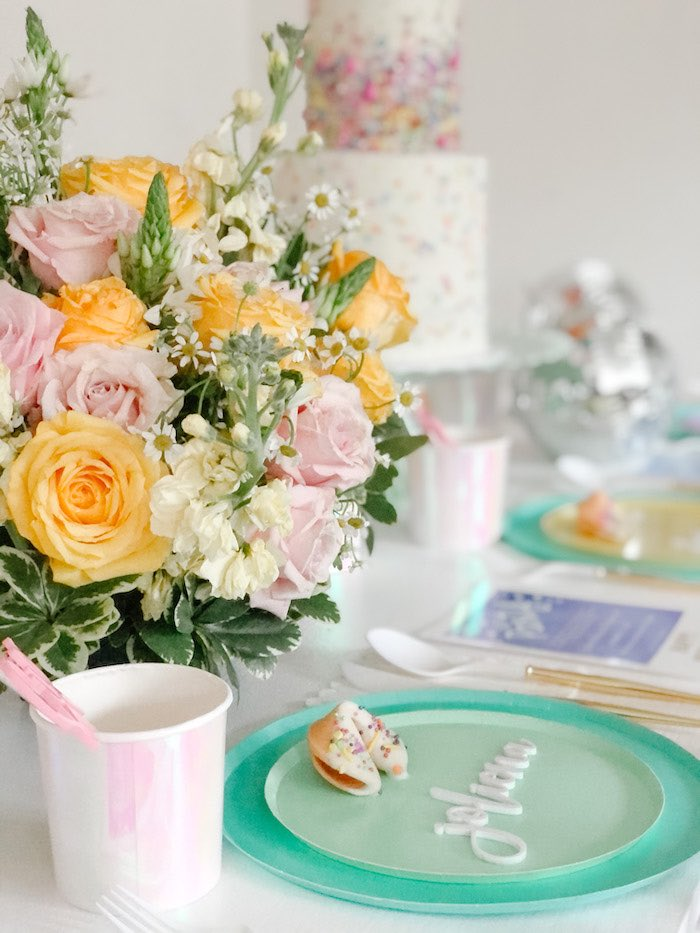 Guest Table Setting from a Glam Pastel New Year's Eve Party on Kara's Party Ideas | KarasPartyIdeas.com (14)