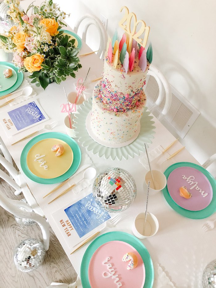 Cake Table from a Glam Pastel New Year's Eve Party on Kara's Party Ideas | KarasPartyIdeas.com (11)