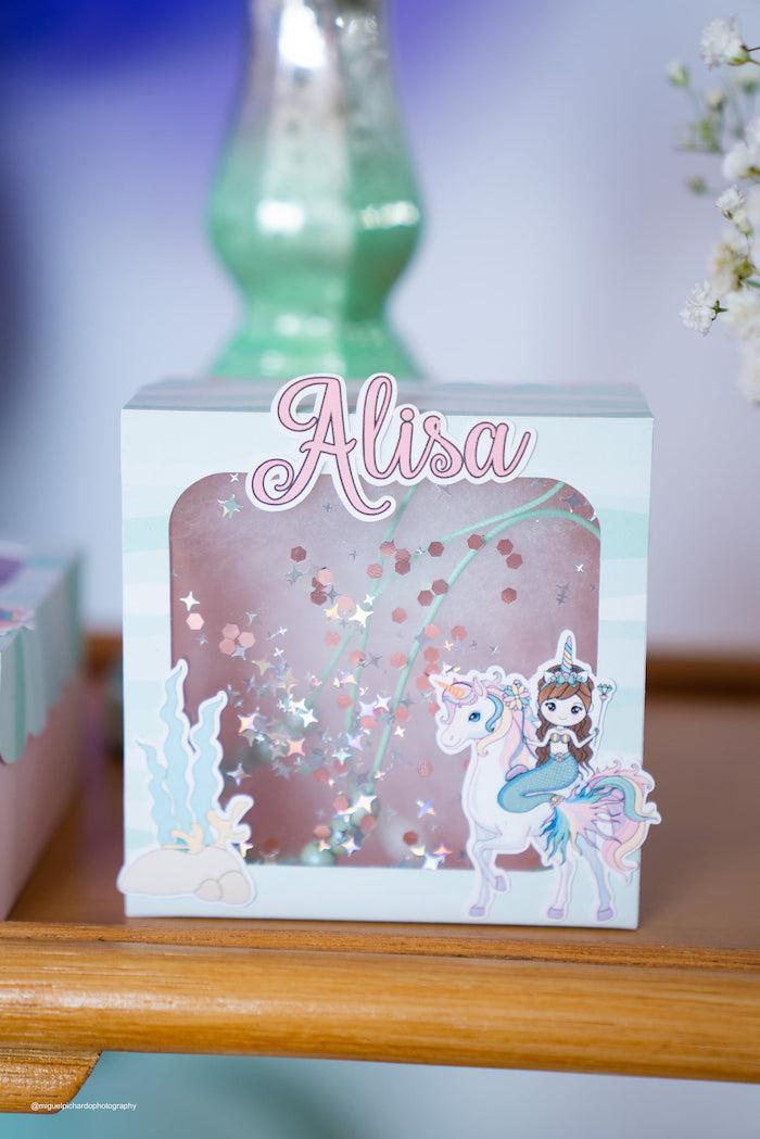 Custom Unicorn & Mermaid Window Favor Box from a Magical Mermaids & Unicorns Party on Kara's Party Ideas | KarasPartyIdeas.com (38)