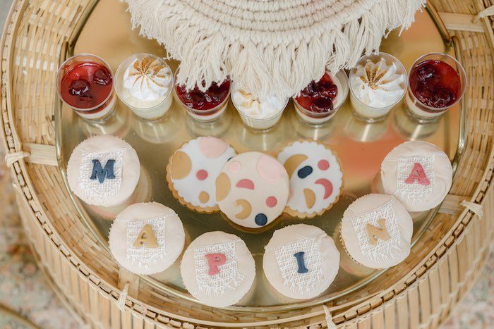 Name Cupcakes + Cookies + Dessert Shooters from a Modern Boho Christening Party on Kara's Party Ideas | KarasPartyIdeas.com (24)