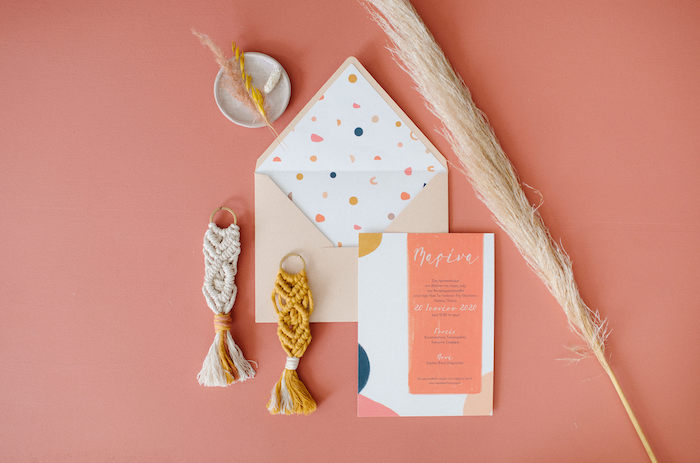 Geometric Party Invite from a Modern Boho Christening Party on Kara's Party Ideas | KarasPartyIdeas.com (34)