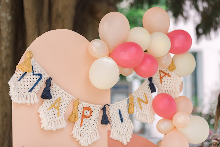 Custom Handmade Macramé Name Garland from a Modern Boho Christening Party on Kara's Party Ideas | KarasPartyIdeas.com (8)