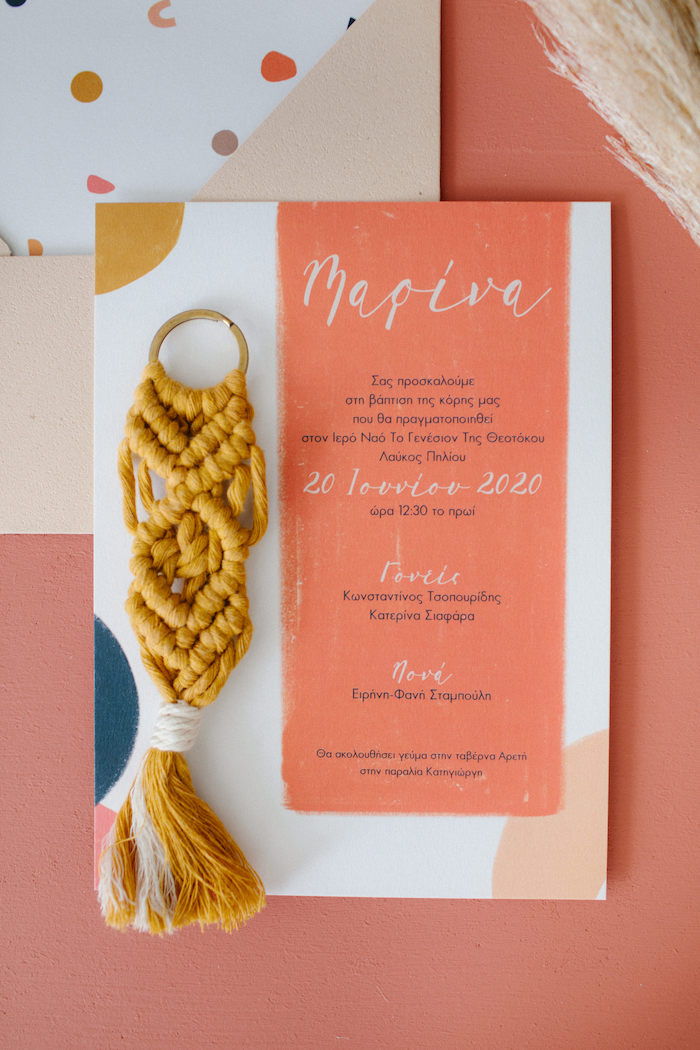 Geometric Party Invite from a Modern Boho Christening Party on Kara's Party Ideas | KarasPartyIdeas.com (33)