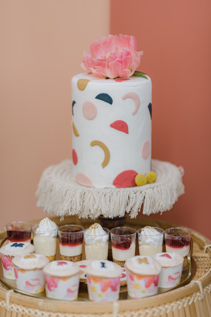 Modern Boho Cake from a Modern Boho Christening Party on Kara's Party Ideas | KarasPartyIdeas.com (4)