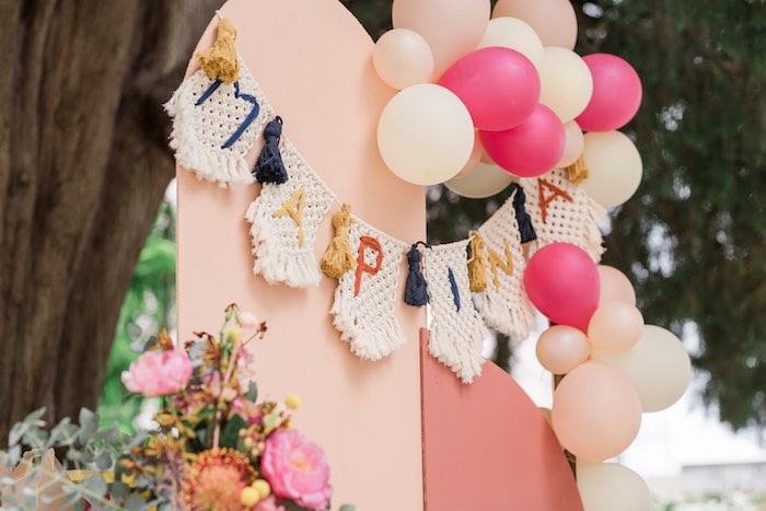 Modern Boho Backdrop + Banner from a Modern Boho Christening Party on Kara's Party Ideas | KarasPartyIdeas.com (3)
