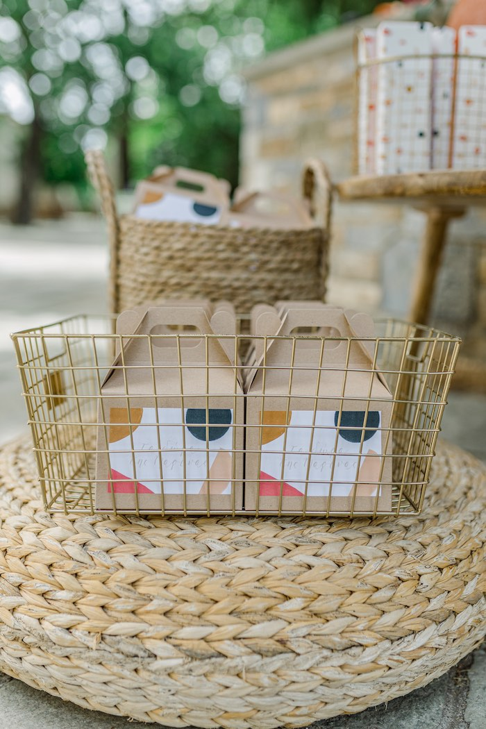 Gable Favor Boxes in Baskets from a Modern Boho Christening Party on Kara's Party Ideas | KarasPartyIdeas.com (31)