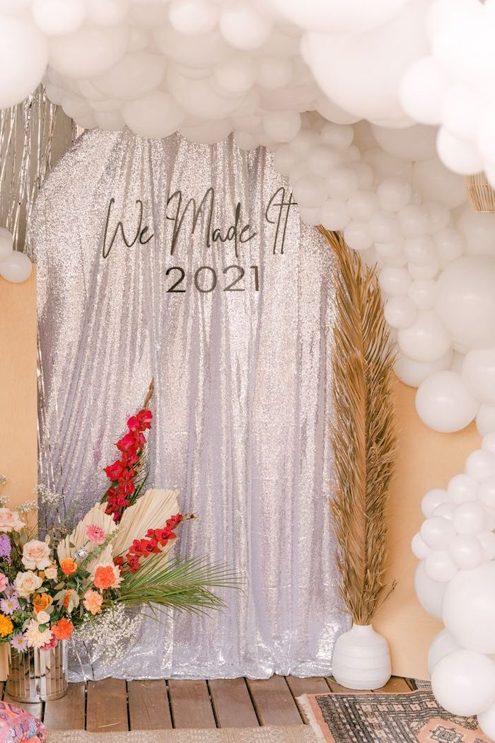 """NYE Photo Booth from a NYE """"We Made It to 2021"""" Party on Kara's Party Ideas 