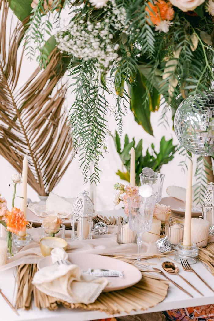 """Boho Guest Table from a NYE """"We Made It to 2021"""" Party on Kara's Party Ideas 