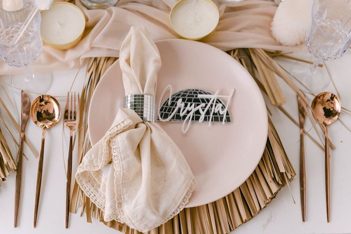 """New Year's Table Setting from a NYE """"We Made It to 2021"""" Party on Kara's Party Ideas 