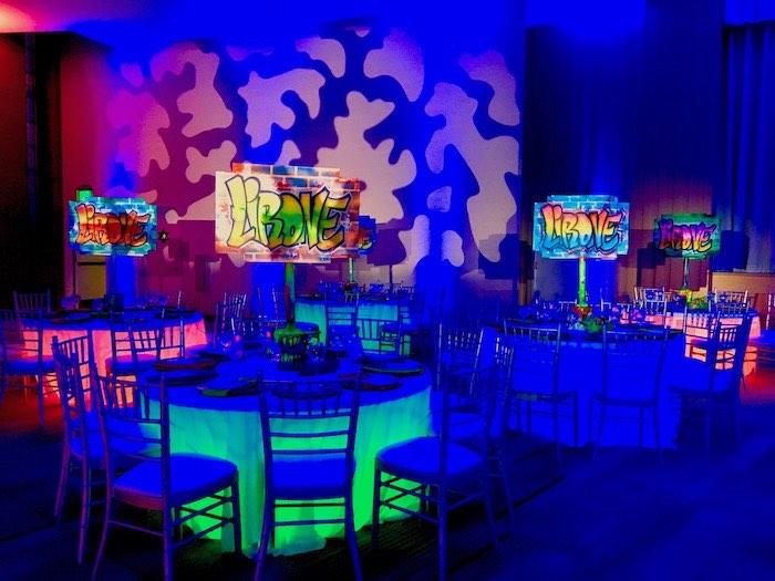 Neon Graffiti Guest Tables from a Neon Graffiti Birthday Party on Kara's Party Ideas   KarasPartyIdeas.com (22)