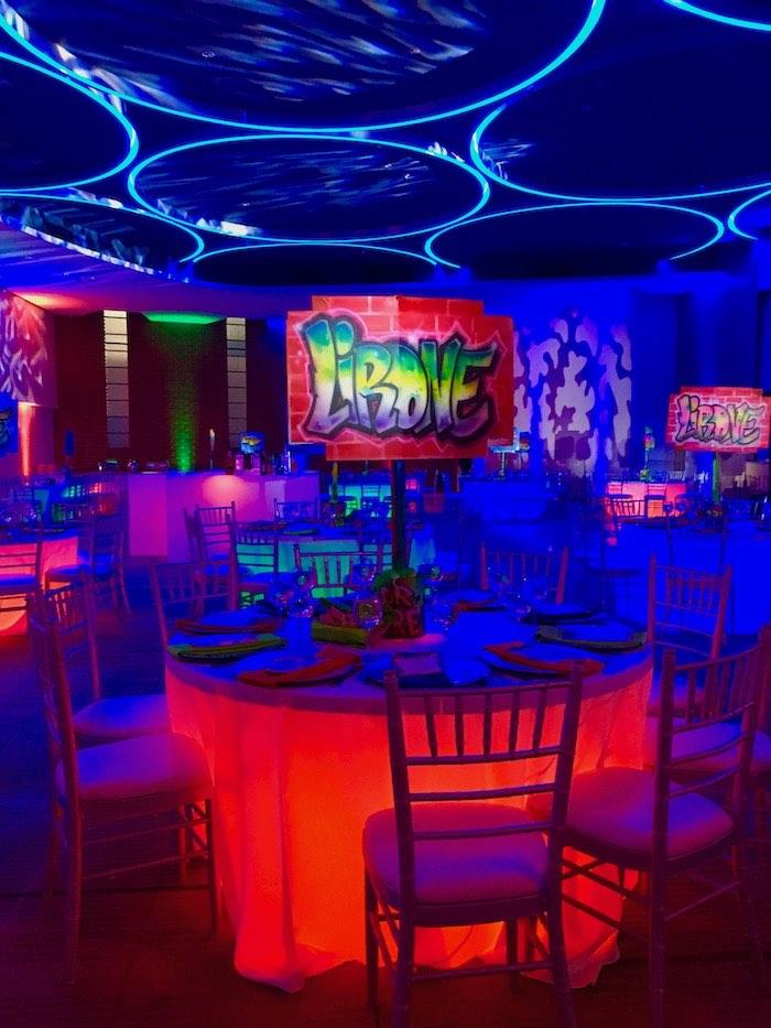 Neon Graffiti Guest Table from a Neon Graffiti Birthday Party on Kara's Party Ideas   KarasPartyIdeas.com (21)