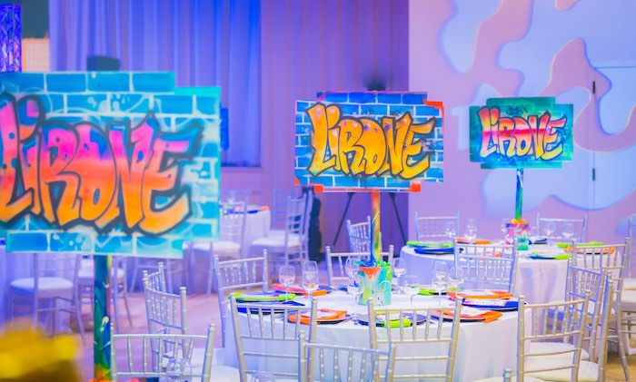 Graffiti-inspired Guest Tables from a Neon Graffiti Birthday Party on Kara's Party Ideas   KarasPartyIdeas.com (20)