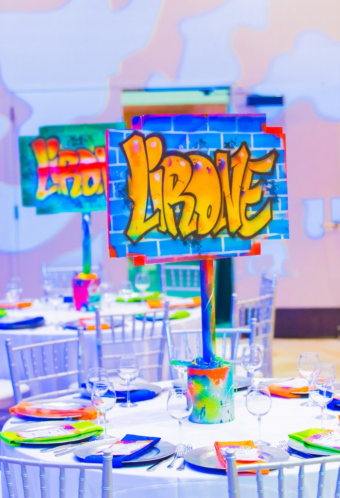 Graffiti-inspired Guest Table from a Neon Graffiti Birthday Party on Kara's Party Ideas   KarasPartyIdeas.com (19)