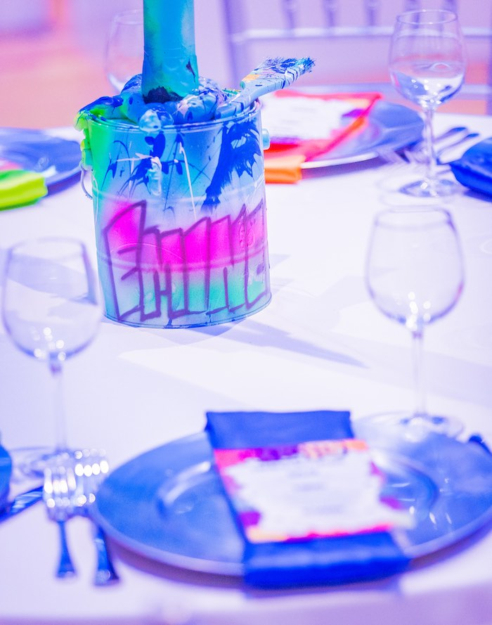 Graffitied Paint Can Table Centerpiece from a Neon Graffiti Birthday Party on Kara's Party Ideas   KarasPartyIdeas.com (18)