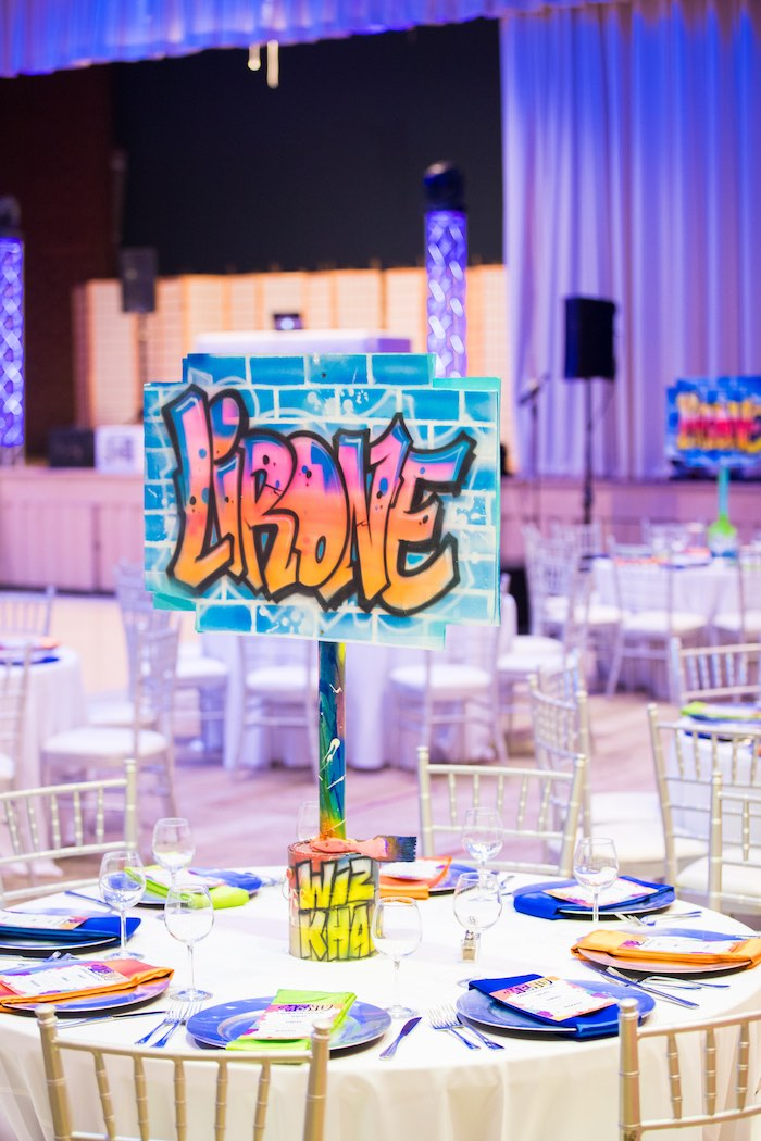 Graffiti-inspired Guest Table from a Neon Graffiti Birthday Party on Kara's Party Ideas   KarasPartyIdeas.com (16)