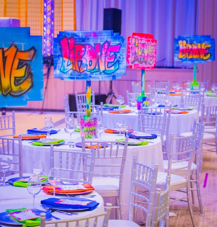 Neon Graffiti Themed Guest Tables + Partyscape from a Neon Graffiti Birthday Party on Kara's Party Ideas   KarasPartyIdeas.com (29)