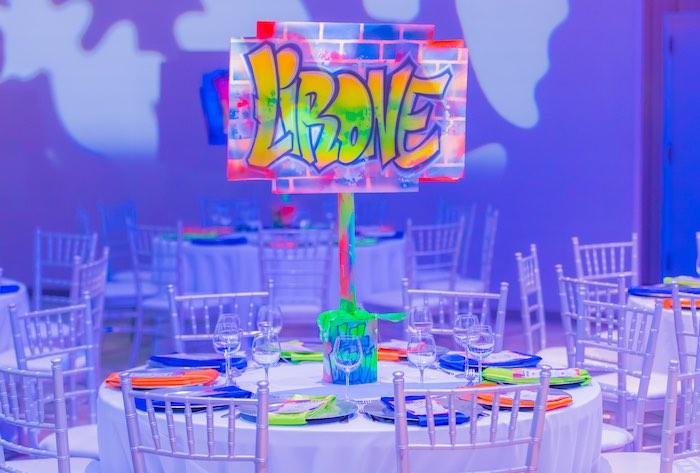 Neon Graffiti Themed Guest Table from a Neon Graffiti Birthday Party on Kara's Party Ideas   KarasPartyIdeas.com (28)