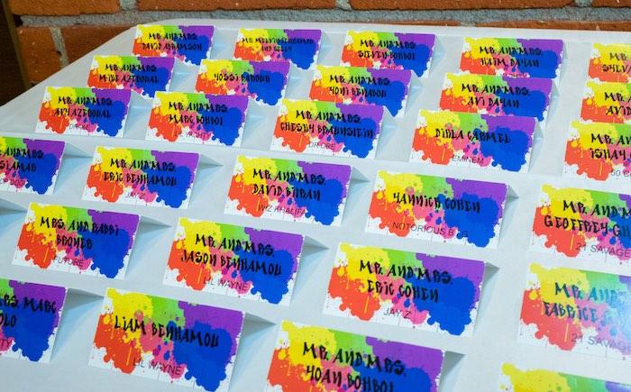 Graffiti Card Seating Chart from a Neon Graffiti Birthday Party on Kara's Party Ideas   KarasPartyIdeas.com (26)