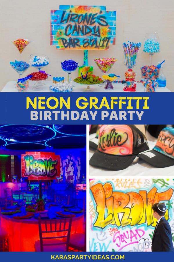 Neon Graffiti Birthday Party via Kara's Party Ideas - KarasPartyIdeas.com