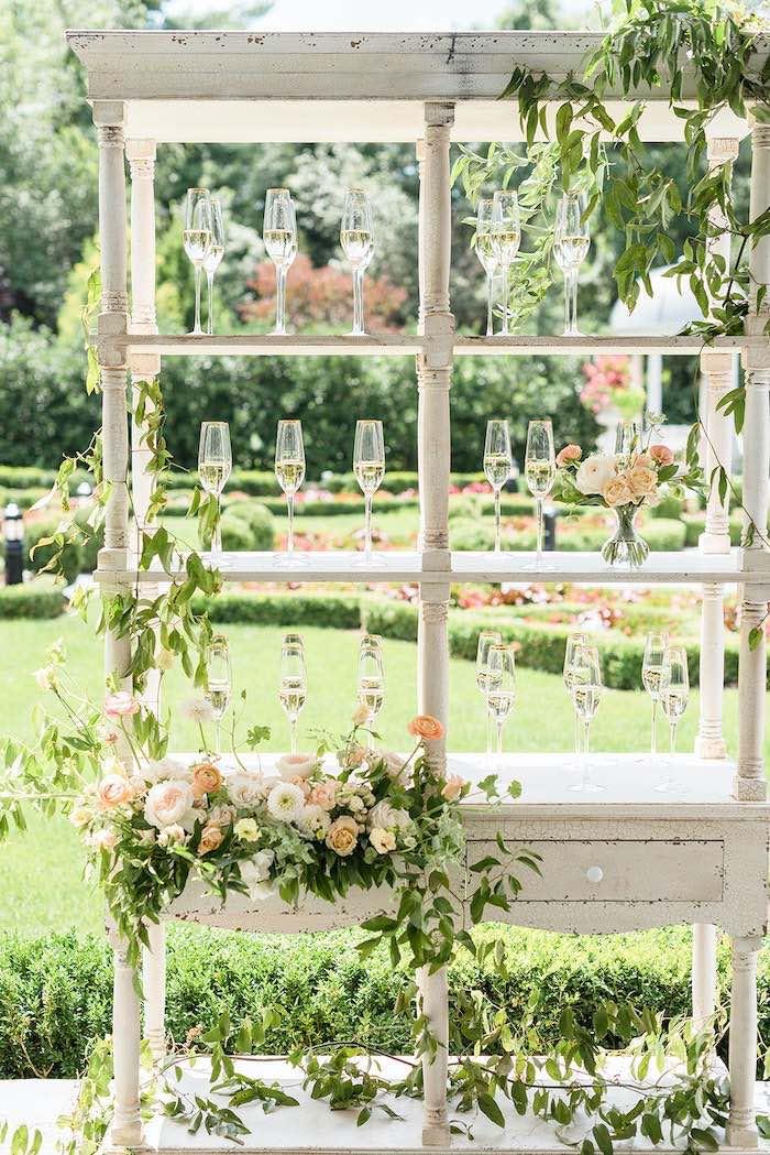 Garden-inspired Beverage Bar from a Park Chateau Garden Wedding on Kara's Party Ideas | KarasPartyIdeas.com (31)