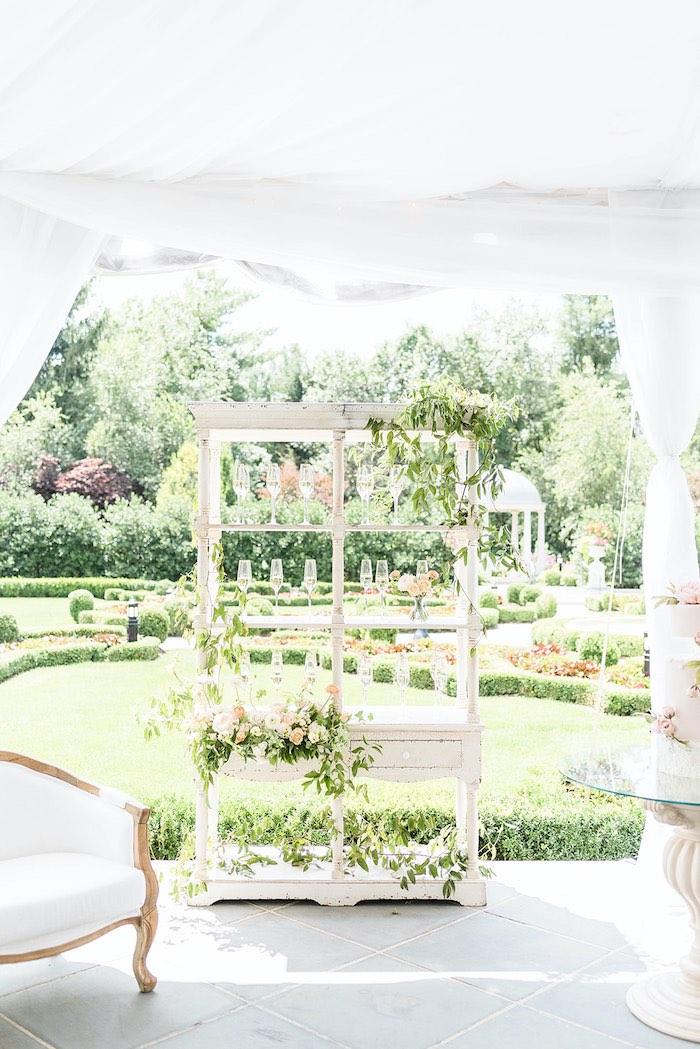 Garden-inspired Beverage Bar from a Park Chateau Garden Wedding on Kara's Party Ideas | KarasPartyIdeas.com (30)