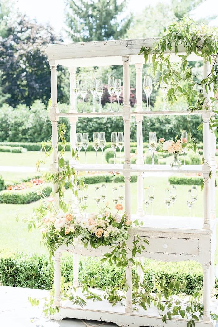 Garden-inspired Beverage Bar from a Park Chateau Garden Wedding on Kara's Party Ideas | KarasPartyIdeas.com (28)