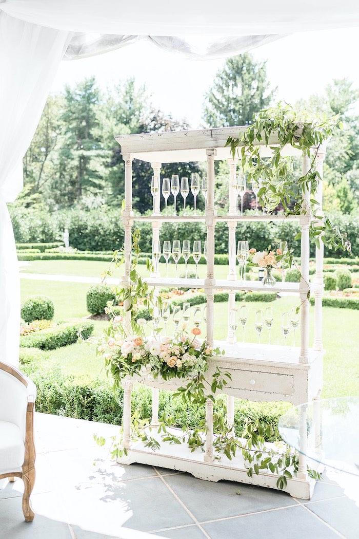 Garden Beverage Shelf from a Park Chateau Garden Wedding on Kara's Party Ideas | KarasPartyIdeas.com (26)