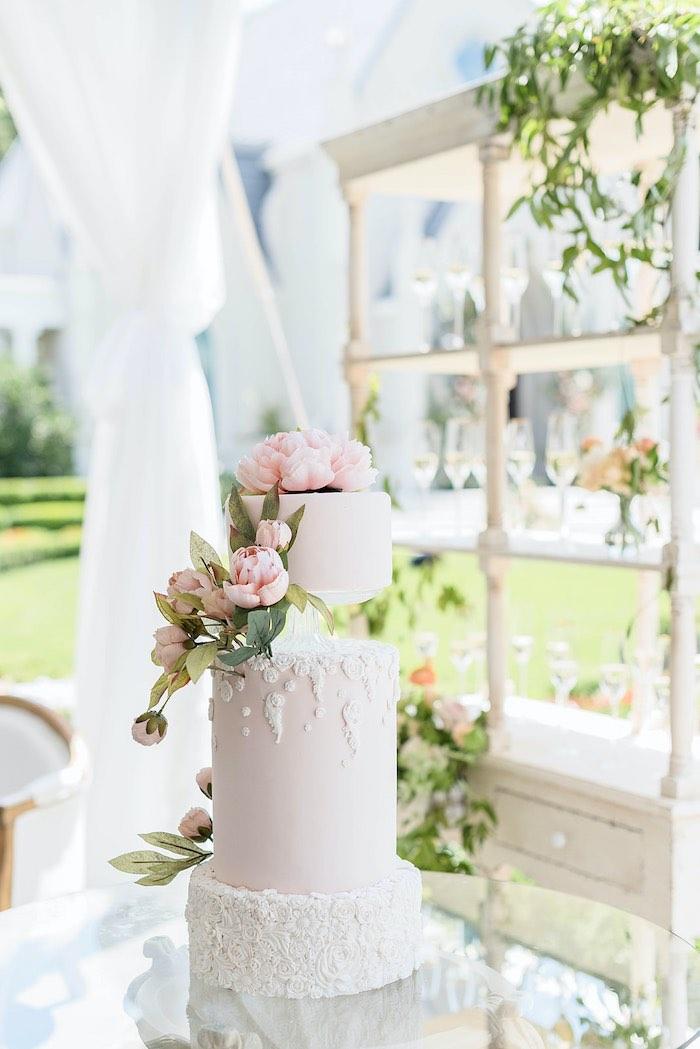 Garden Wedding Cake from a Park Chateau Garden Wedding on Kara's Party Ideas | KarasPartyIdeas.com (24)