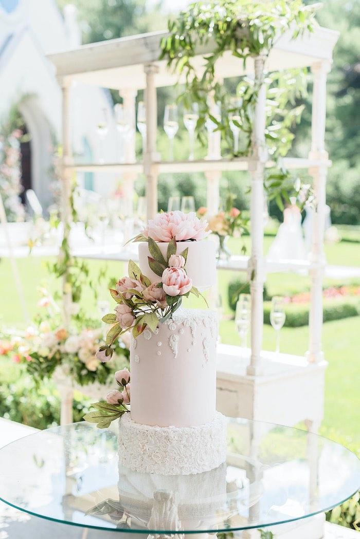 Garden Wedding Cake from a Park Chateau Garden Wedding on Kara's Party Ideas | KarasPartyIdeas.com (23)