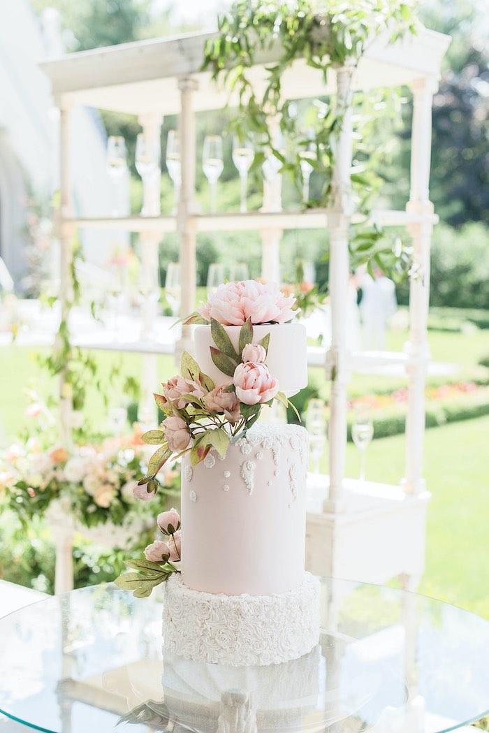 Garden Wedding Cake from a Park Chateau Garden Wedding on Kara's Party Ideas | KarasPartyIdeas.com (22)