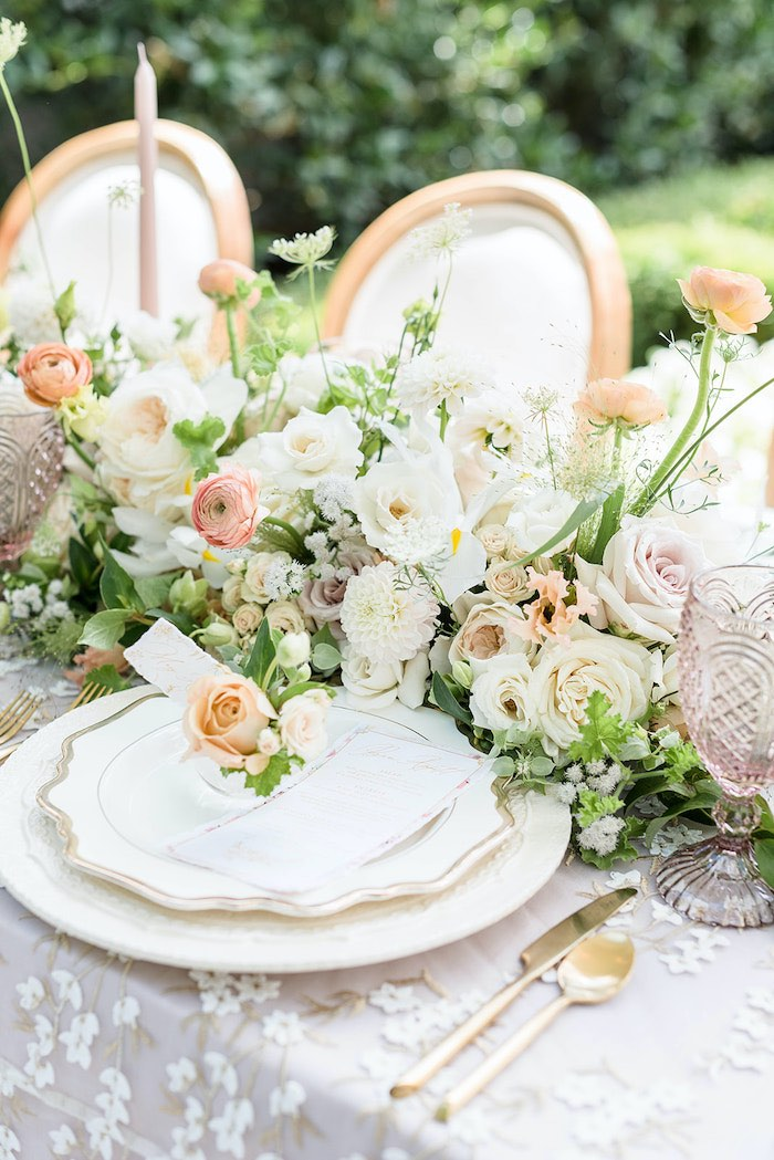 Elegant Garden Table Setting from a Park Chateau Garden Wedding on Kara's Party Ideas | KarasPartyIdeas.com (40)