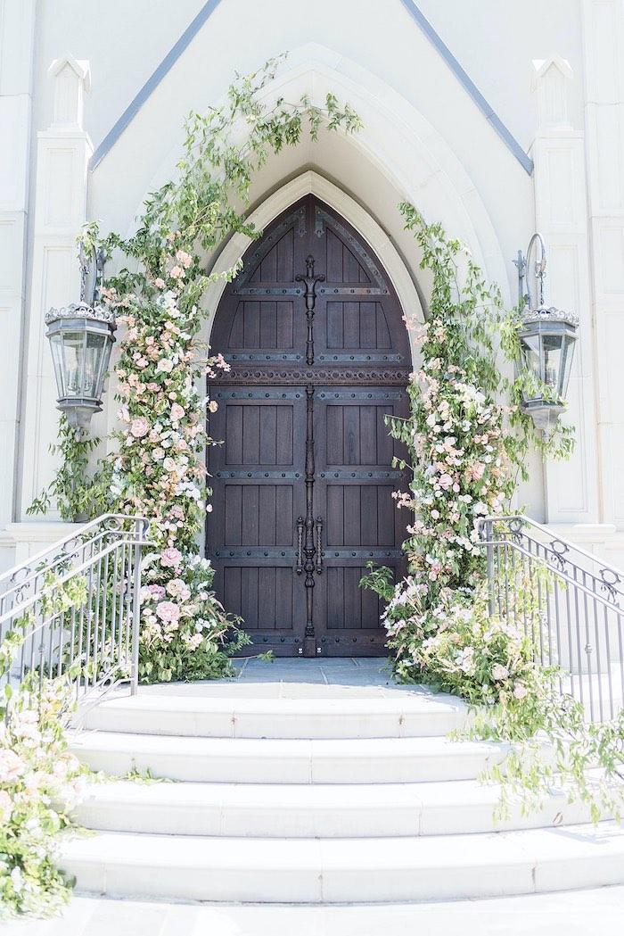 Floral Entrance from a Park Chateau Garden Wedding on Kara's Party Ideas | KarasPartyIdeas.com (18)