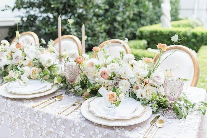 Elegant Garden Guest Table from a Park Chateau Garden Wedding on Kara's Party Ideas | KarasPartyIdeas.com (38)