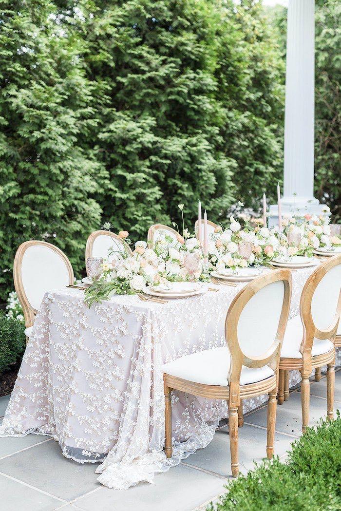 Elegant Garden Guest Table from a Park Chateau Garden Wedding on Kara's Party Ideas | KarasPartyIdeas.com (34)
