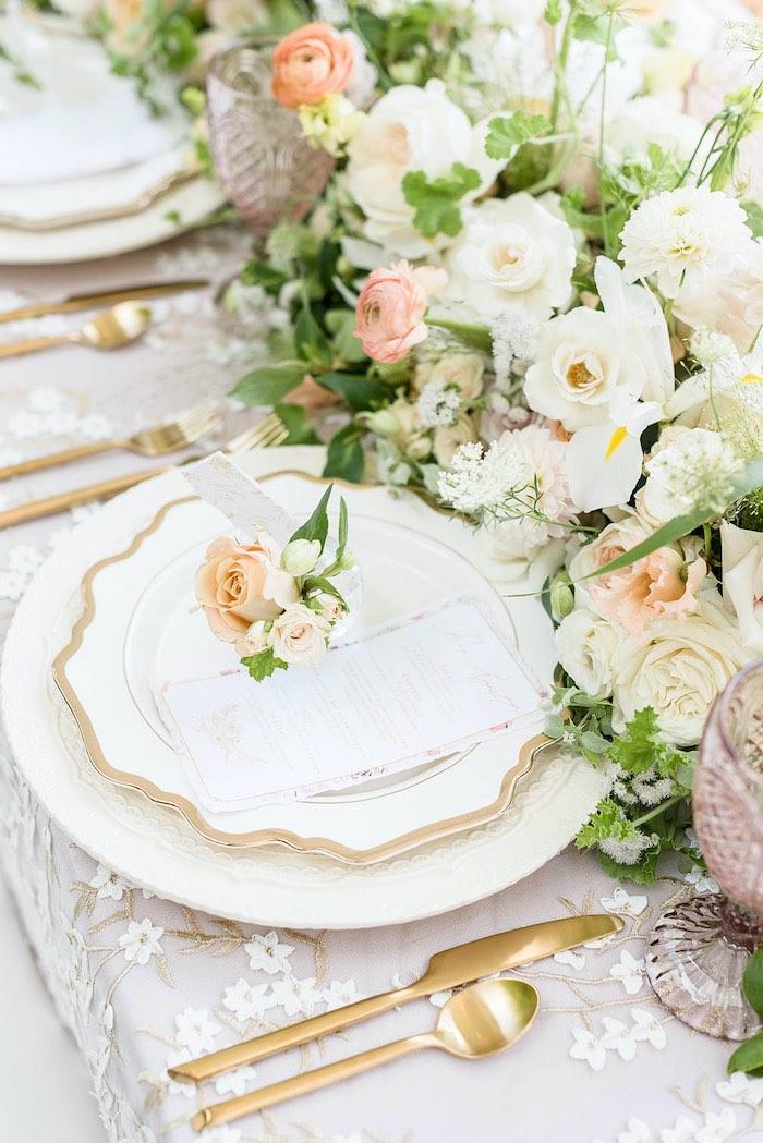 Elegant White + Gold Garden Table Setting from a Park Chateau Garden Wedding on Kara's Party Ideas | KarasPartyIdeas.com (32)