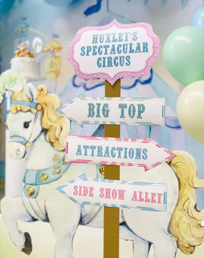 Circus-inspired Directional Sign from a Pastel Circus Party on Kara's Party Ideas | KarasPartyIdeas.com (10)