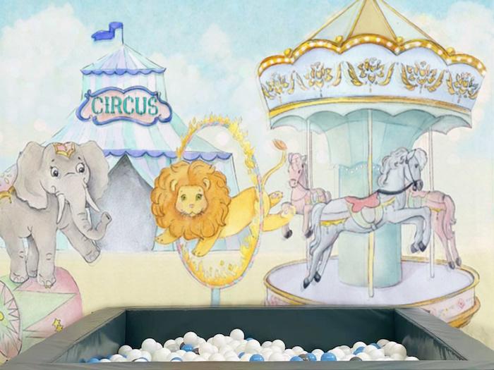 Circus Backdrop from a Pastel Circus Party on Kara's Party Ideas | KarasPartyIdeas.com (9)