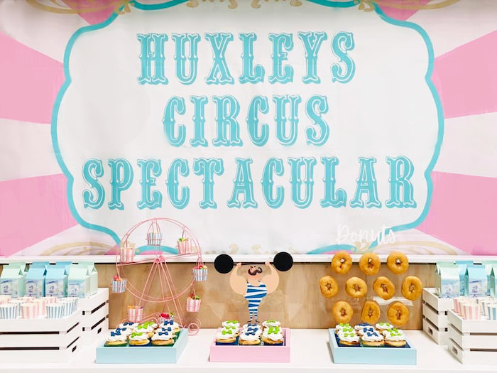 Circus Themed Dessert Table from a Pastel Circus Party on Kara's Party Ideas | KarasPartyIdeas.com (7)