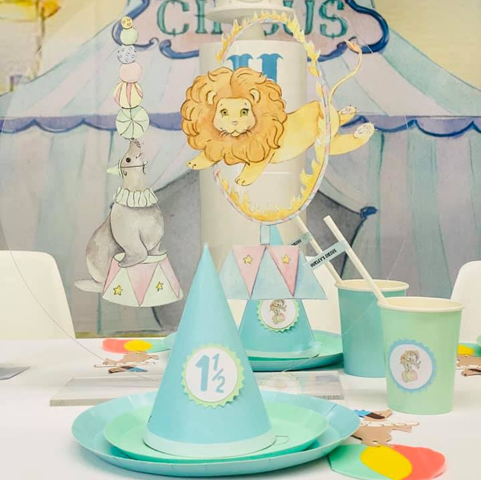 Circus Themed Table Setting from a Pastel Circus Party on Kara's Party Ideas | KarasPartyIdeas.com (5)
