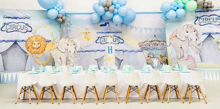 Circus Themed Guest Table from a Pastel Circus Party on Kara's Party Ideas | KarasPartyIdeas.com (19)
