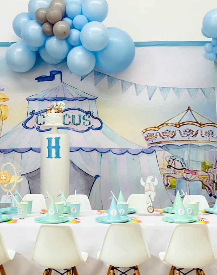 Circus Themed Guest Table from a Pastel Circus Party on Kara's Party Ideas | KarasPartyIdeas.com (18)