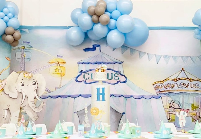 Circus Themed Guest Table from a Pastel Circus Party on Kara's Party Ideas | KarasPartyIdeas.com (17)